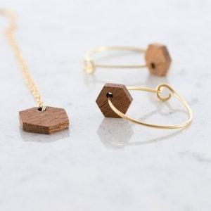 DEBOSC Conjunto aros hexágono de oro y sapeli