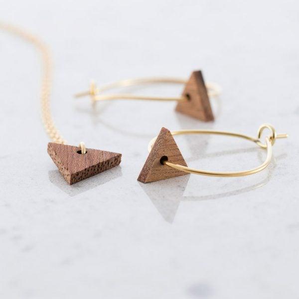 DEBOSC Conjunto aros triángulo de oro y sapeli