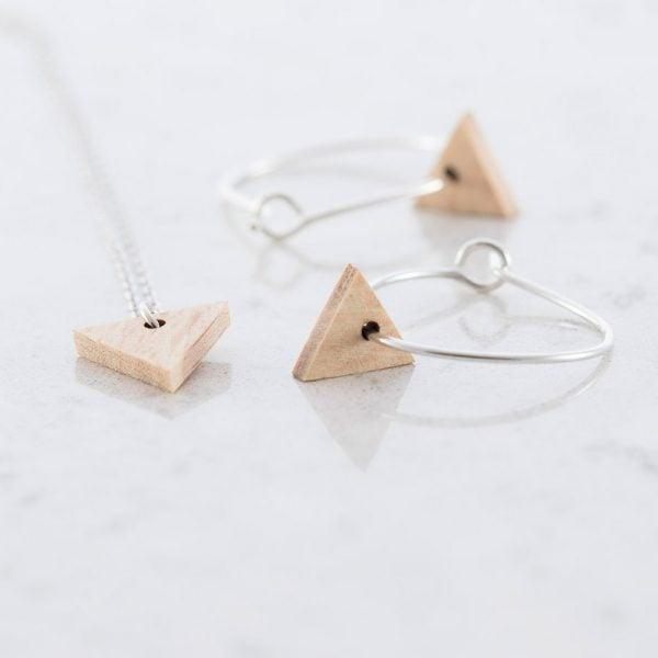 DEBOSC Conjunto aros triángulo de plata y haya