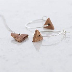 DEBOSC Conjunto aros triángulo de plata y sapeli