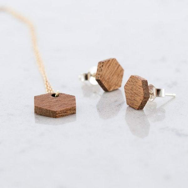 DEBOSC Conjunto botones hexágono de oro y sapeli