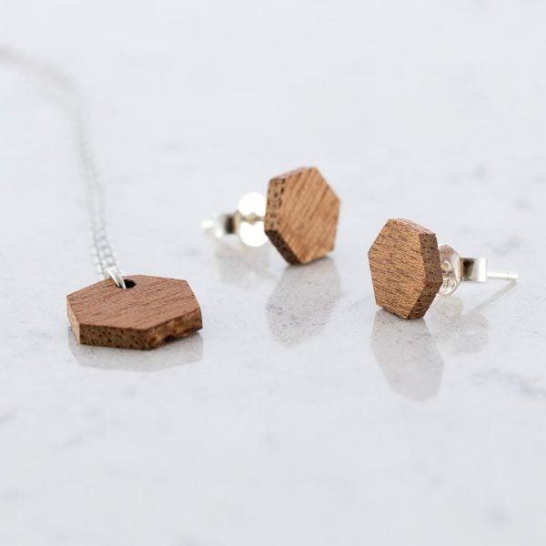 DEBOSC Conjunto botones hexágono de plata y sapeli