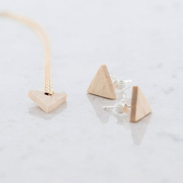 DEBOSC Conjunto botones triángulo de oro y haya