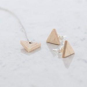 DEBOSC Conjunto botones triángulo de plata y haya