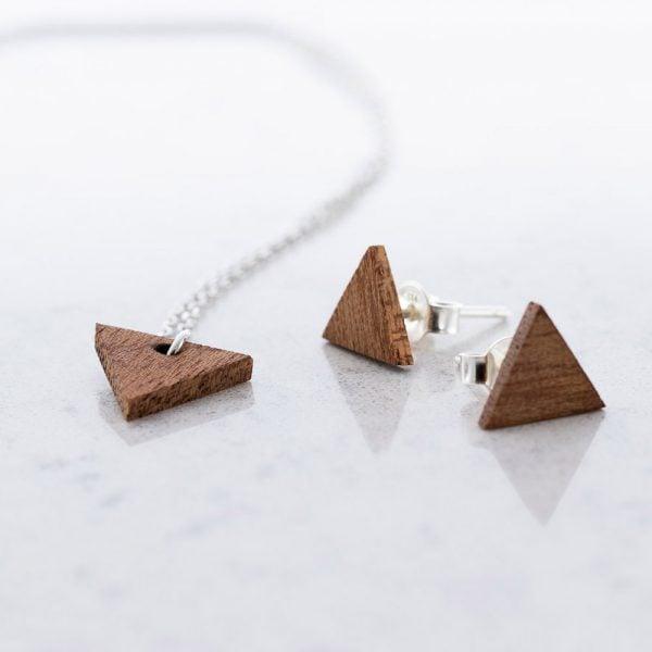 DEBOSC Conjunto botones triángulo de plata y sapeli
