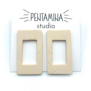 Pentamina Studio Pendientes geométricos blanco marfil