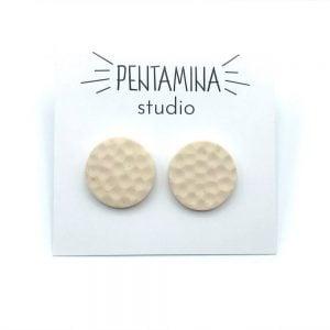 Pentamina Studio Pendientes Mini círculo blanco marfil